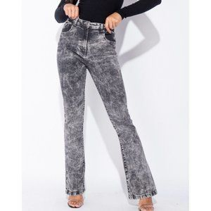 Gray Acid Wash High Waist Skinny Flare Denim Jeans